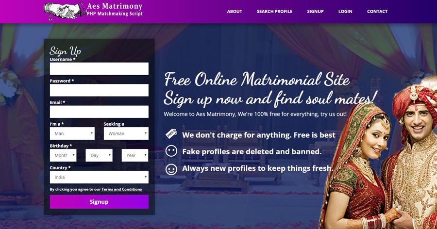 PHP Matrimony Match Making Script Website by Accentuate e Services